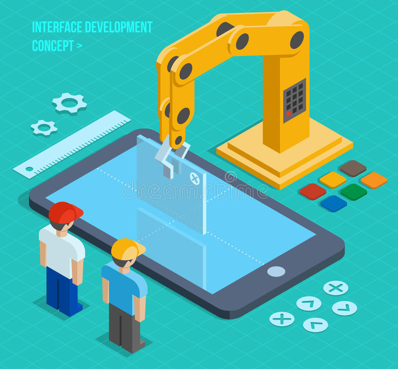 Vector 3d isometric user interface development. Concept. Application and software, screen and phone stock illustration