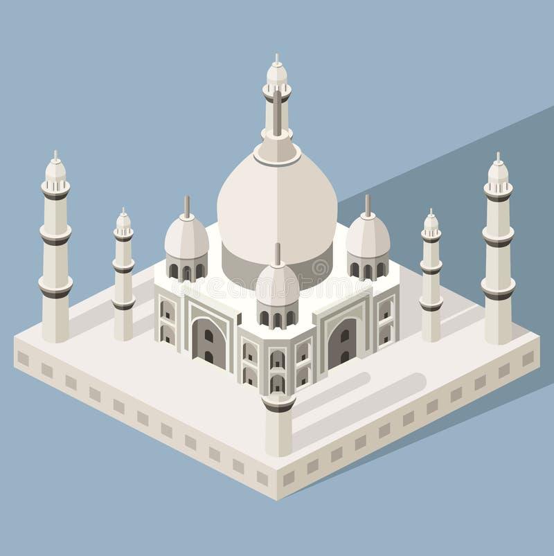Vector 3d isometrisch pictogram van Taj Mahal-mausoleum met kleurrijke vlakke stijlschaduw en achtergrond royalty-vrije illustratie