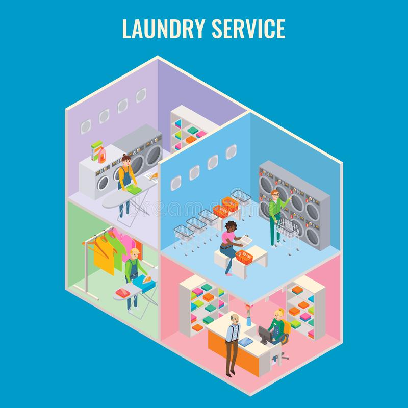 Vector 3d isometrische het conceptenillustratie van de wasserijdienst stock illustratie