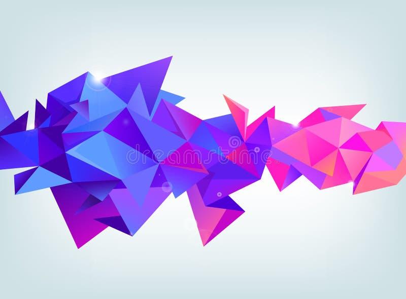 Vector 3d la forma variopinta di cristallo sfaccettata, insegna cristallo, colori porpora e rosa di orientamento orizzontale illustrazione vettoriale