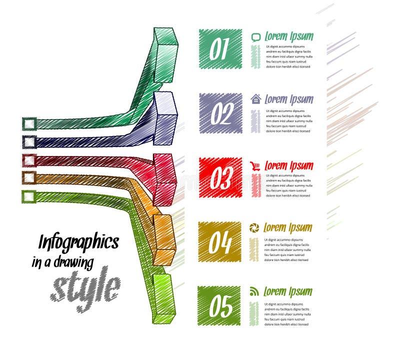 Vector 3d la línea conceptos del negocio de la flecha con los iconos libre illustration