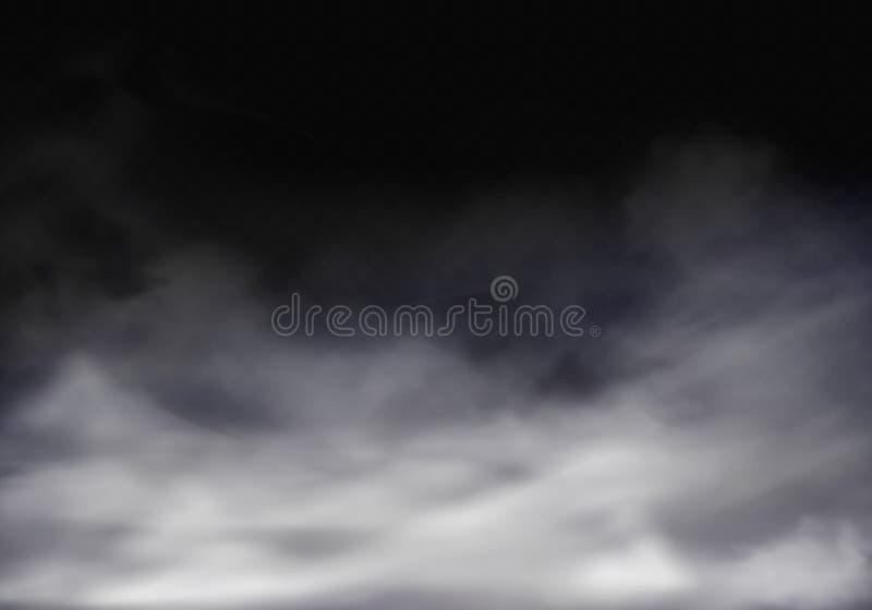 Vector 3d la niebla transparente realista, niebla gris ilustración del vector