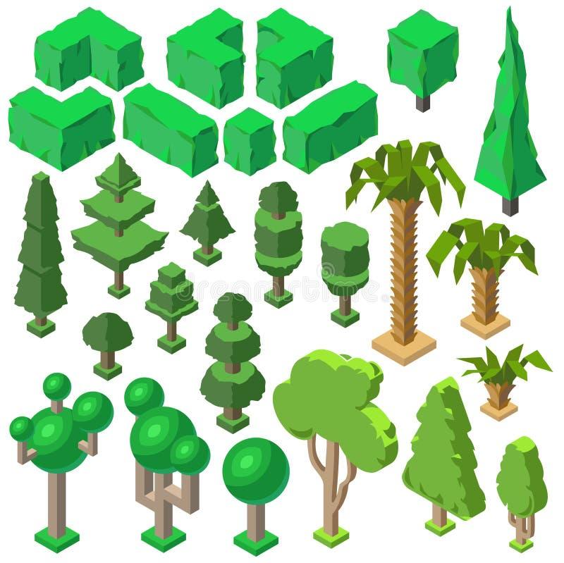 Vector 3d las plantas isométricas, árboles, arbustos, palmas libre illustration