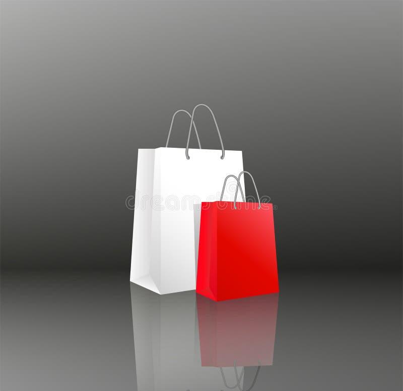 Vector 3D los paquetes realistas vacíos o los bolsos de papel blancos del icono dos y rojos para hacer compras o los regalos Obje stock de ilustración