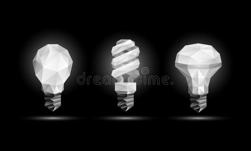 Vector 3d low poly light bulbs model set. Glowing polygonal led bulb illustration on a black background. Vector 3d low poly light bulbs model set. Glowing vector illustration