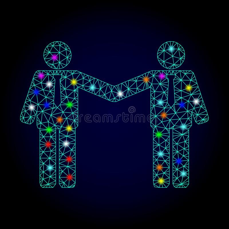 Vector 2D Mesh Businessmen Relations with Light Spots for Chistmas royalty free illustration