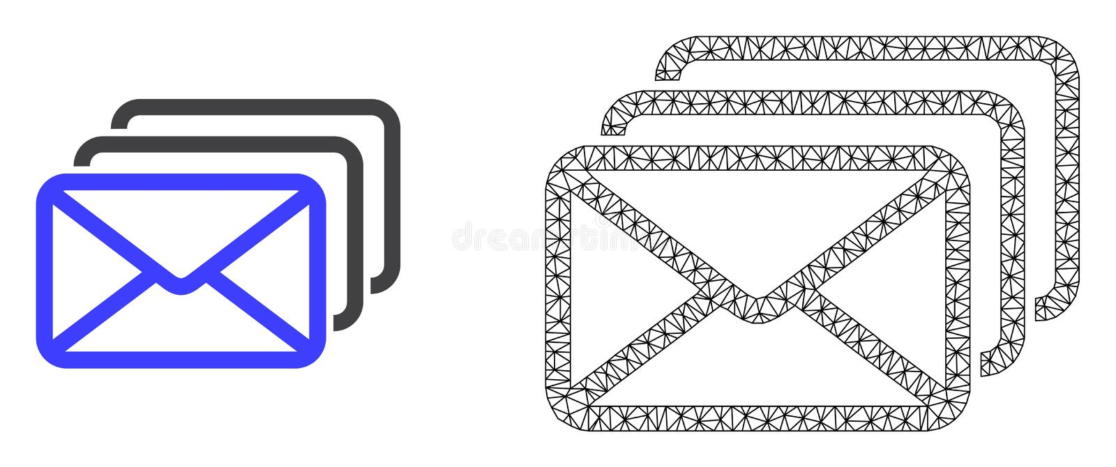 Vector 2D Mesh Mail Queue and Flat Icon stock illustration