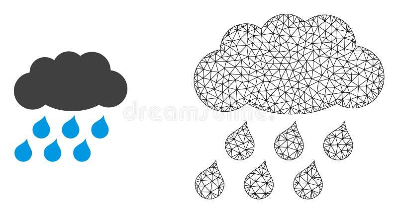 Vector 2D Mesh Rain Cloud en Vlak Pictogram stock illustratie