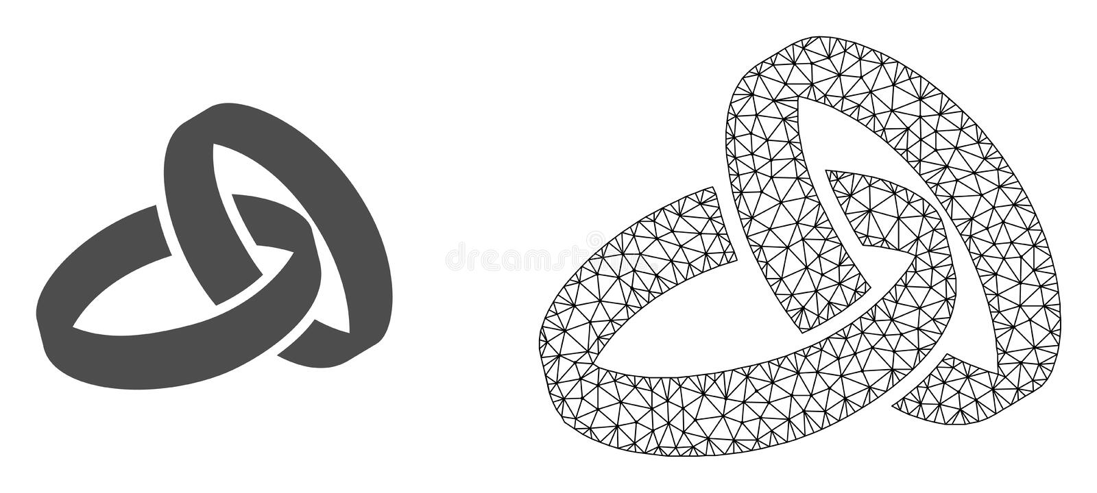 Vector 2D Mesh Wedding Rings and Flat Icon vector illustration