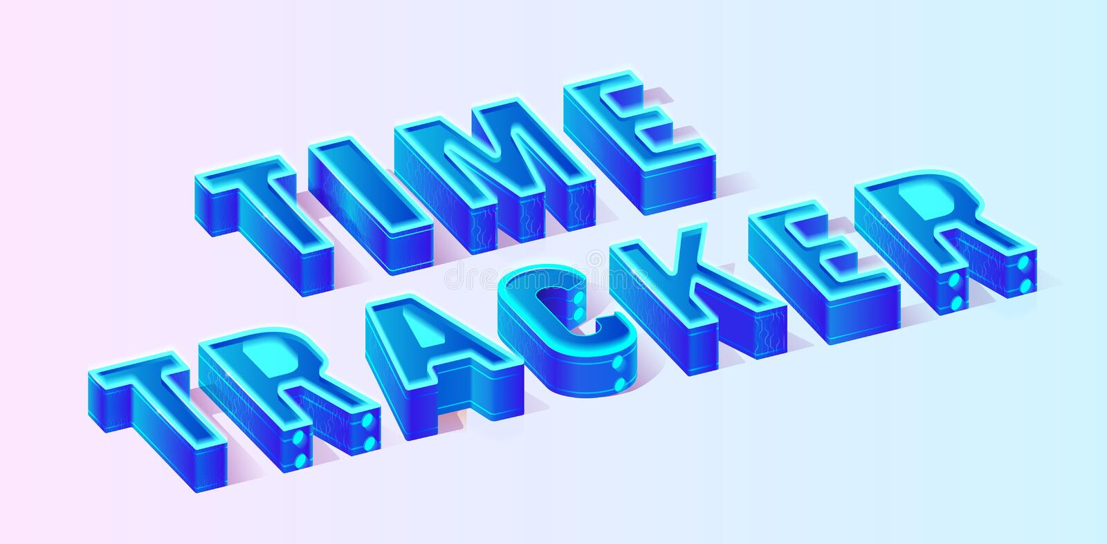 Blue Isometric Time Tracker Composition Banner royalty free illustration