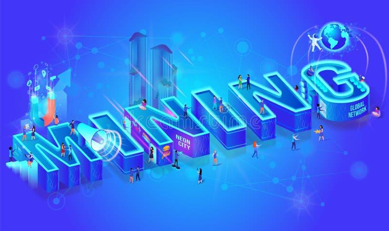 Vector 3d Neon Isometric Word Mining, City People vector illustration