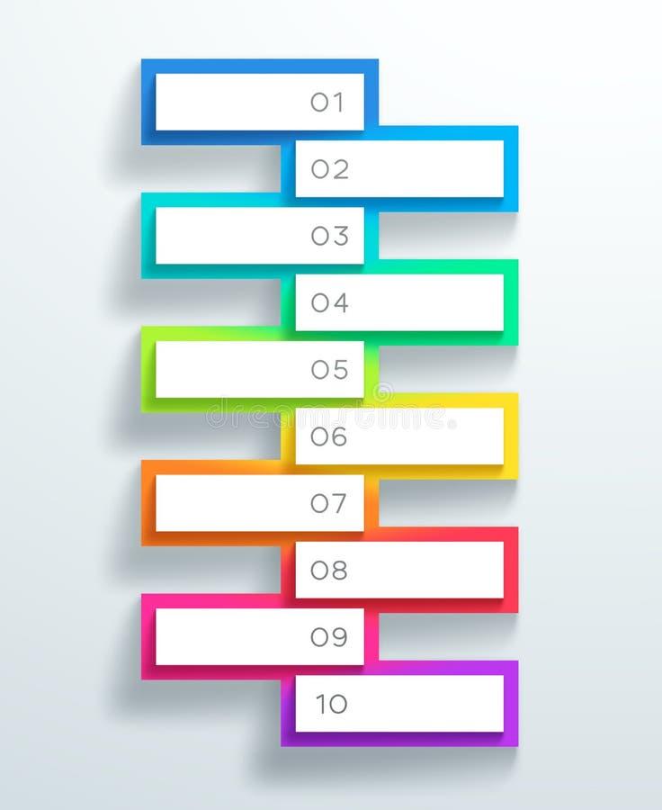 Vector 3d nummerierte Textboxen stapelte 1 bis 10 lizenzfreie abbildung