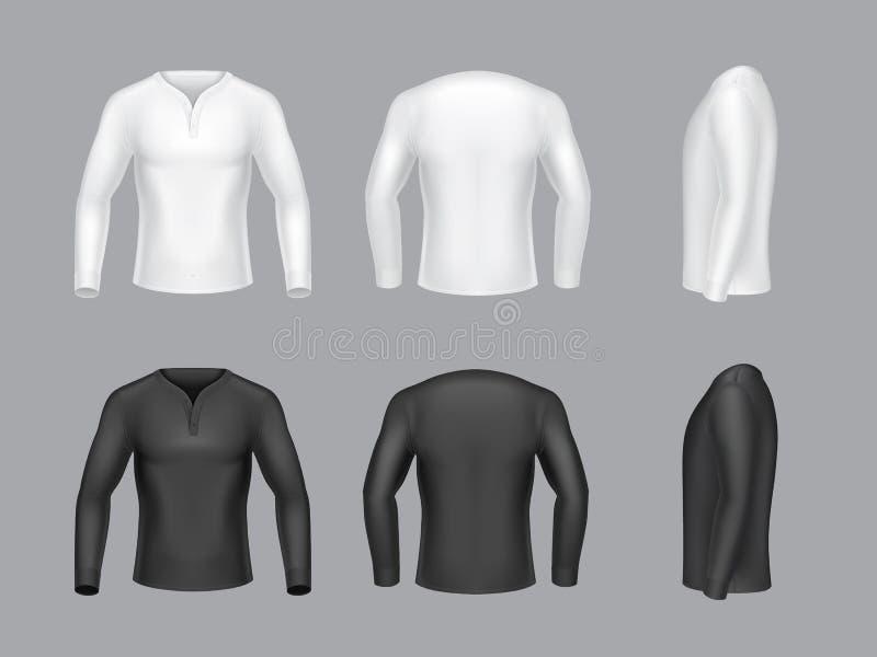 Vector 3d o branco realístico, camisetas longas pretas da luva ilustração stock