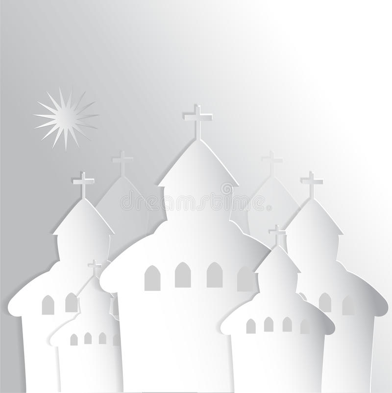 Churches. Vector 3D Paper, Seven Churches with star in Bible royalty free illustration