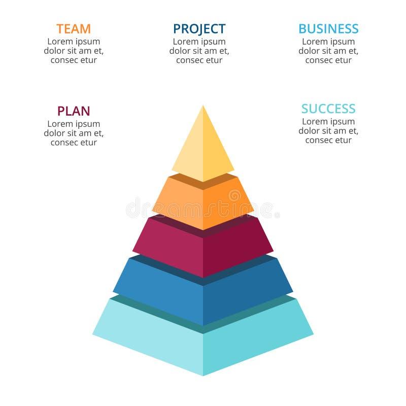 Vector 3d a pirâmide infographic, carta do diagrama do crescimento, apresentação mergulhada do gráfico de desempenho Conceito do  ilustração royalty free