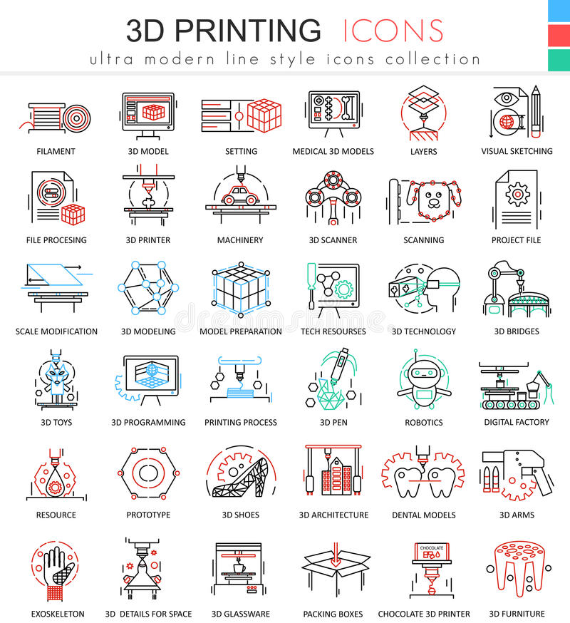 Vector 3d printing color line outline icons for apps and web design. Future 3d printing technology icons. Vector 3d printing color line outline icons for apps royalty free illustration