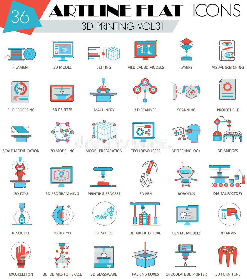 Vector 3D printing ultra modern outline artline flat line icons for web and apps. royalty free illustration
