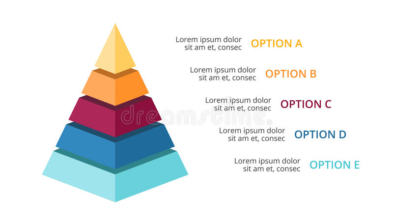 Vector 3d pyramid infographic, growth diagram chart, layered performance graph presentation. Business progress concept. Circle arrows diagram for graph stock illustration