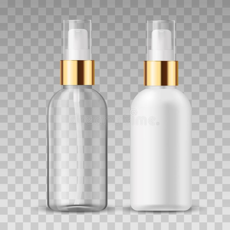 Vector 3D Realistic beauty care cosmetic product. Plastic white and tranparent container of spray bottle for lotion stock illustration