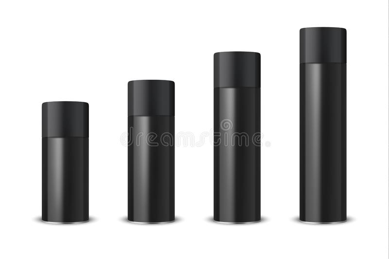 Vector 3d Realistic Black Blank Spray Can, Spray Bottle with Cap Set Closeup Isolated on White Background. Design royalty free illustration