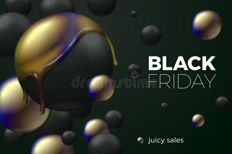 Vector realistic black friday sale banner concept vector illustration