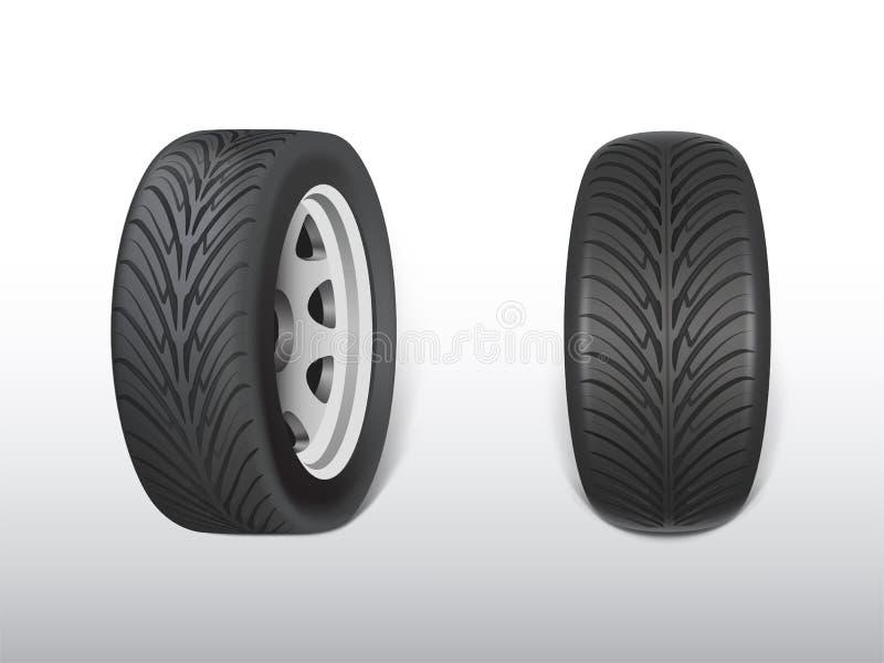 Vector 3d realistic black tyre with tread. Vector 3d realistic black tyre, shining steel and rubber wheel for car, automobile. Modern rim, tread - automotive stock illustration