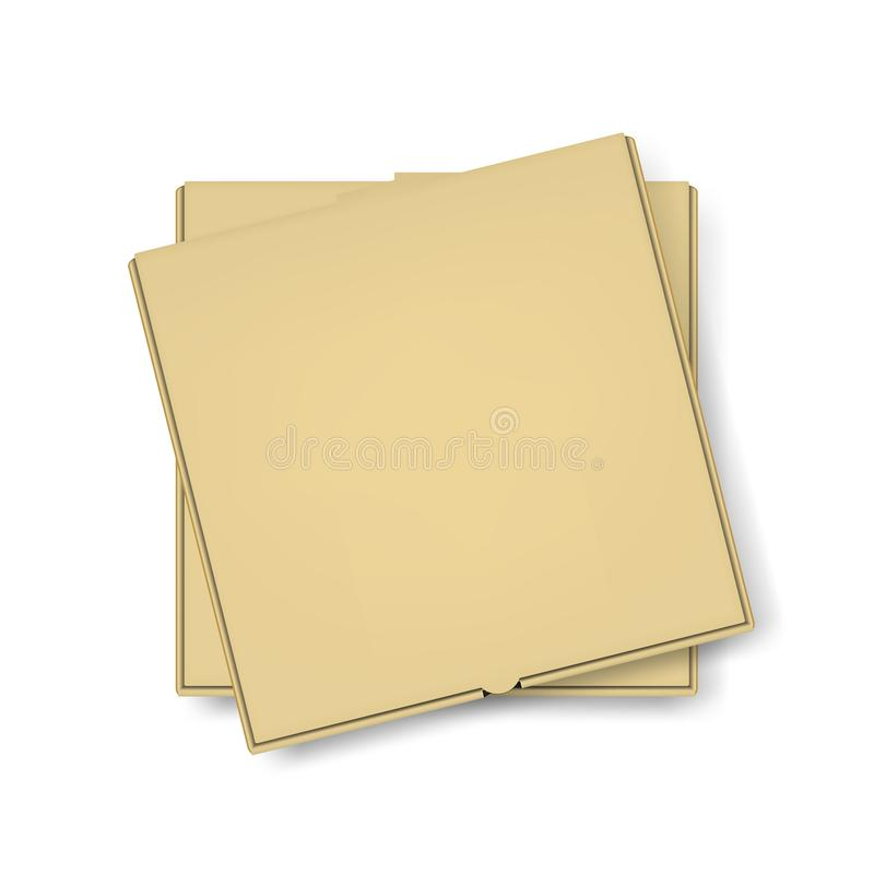 Vector 3d Realistic Blank Brown Craft Paper Pizza Box Stack Template Closeup Isolated on White Background. Mockup for vector illustration