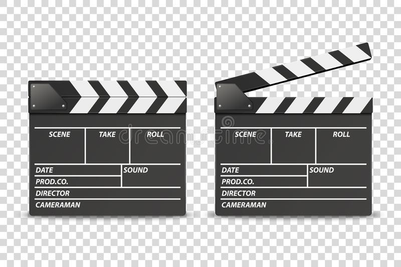 Vector 3d Realistic Blank Closed and Opened Movie Film Clap Board Icon Set Closeup Isolated on Transparent Background royalty free illustration