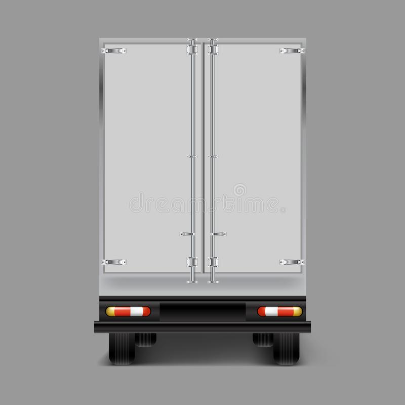 Vector 3d realistic cargo truck back view vector illustration