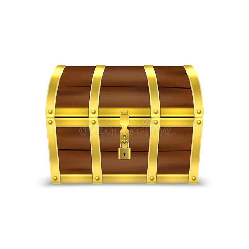 Vector 3d Realistic Closed Retro Vintage Antique Old Treasure Wooden brown Pirate Dower Chest with Golden Metal Stripes vector illustration