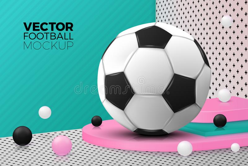 Vector abstract scene, podium and football ball stock illustration