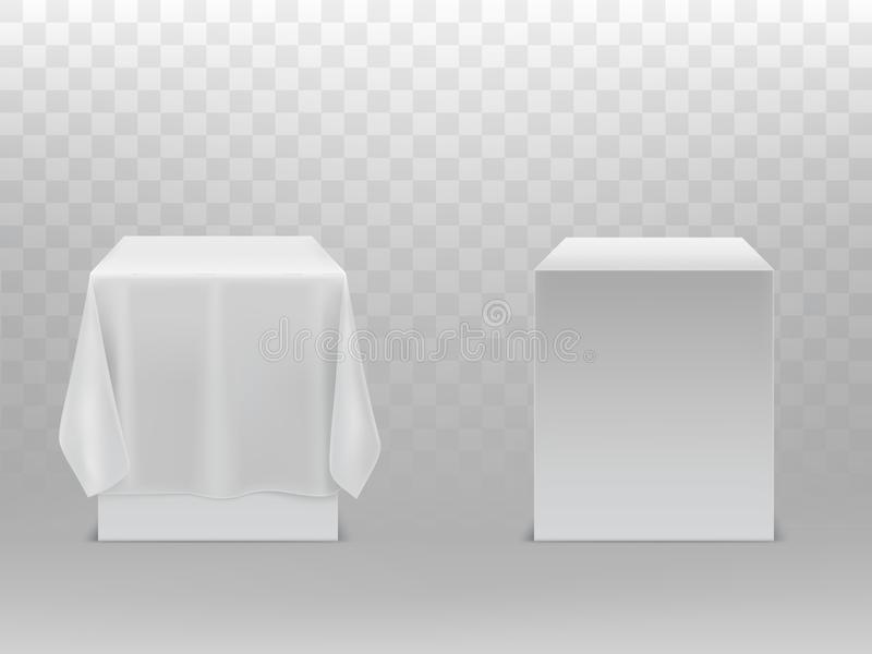 Vector 3d realistic cubes under white fabric. Vector 3d realistic cubes with shadows isolated on background. Mock up, template of box, package container under royalty free illustration