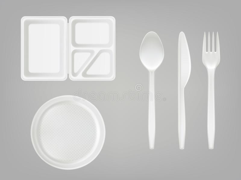 Vector 3d realistic disposable plastic lunch box, plate, spoon, fork, knife. Picnic tableware set on gray background. royalty free illustration