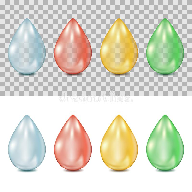 Vector 3d realistic drops on transparent and white background. Droplets of water, blood, oil, green plant juice. royalty free illustration