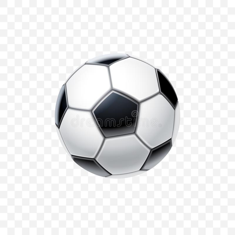 Vector 3d realistic football ball in black and white for soccer isolated on transparent background. Equipment and. Accessories for game. Sports and competition stock illustration