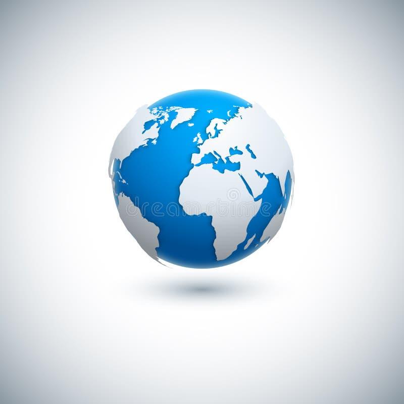 Vector 3D realistic globe icon. vector illustration