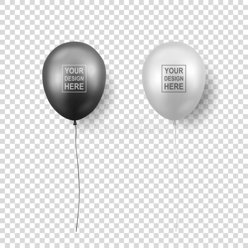 Vector 3d Realistic Glossy Metallic Black and White Balloon with Ribbon Icon Closeup Isolated on Transparent Background royalty free stock photography