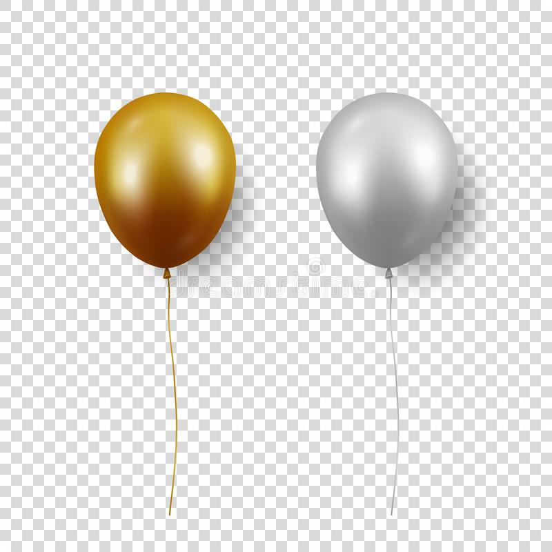 Vector 3d Realistic Glossy Metallic Gold, Silver Balloon with Ribbon Icon Closeup Isolated on Transparent Background royalty free stock image