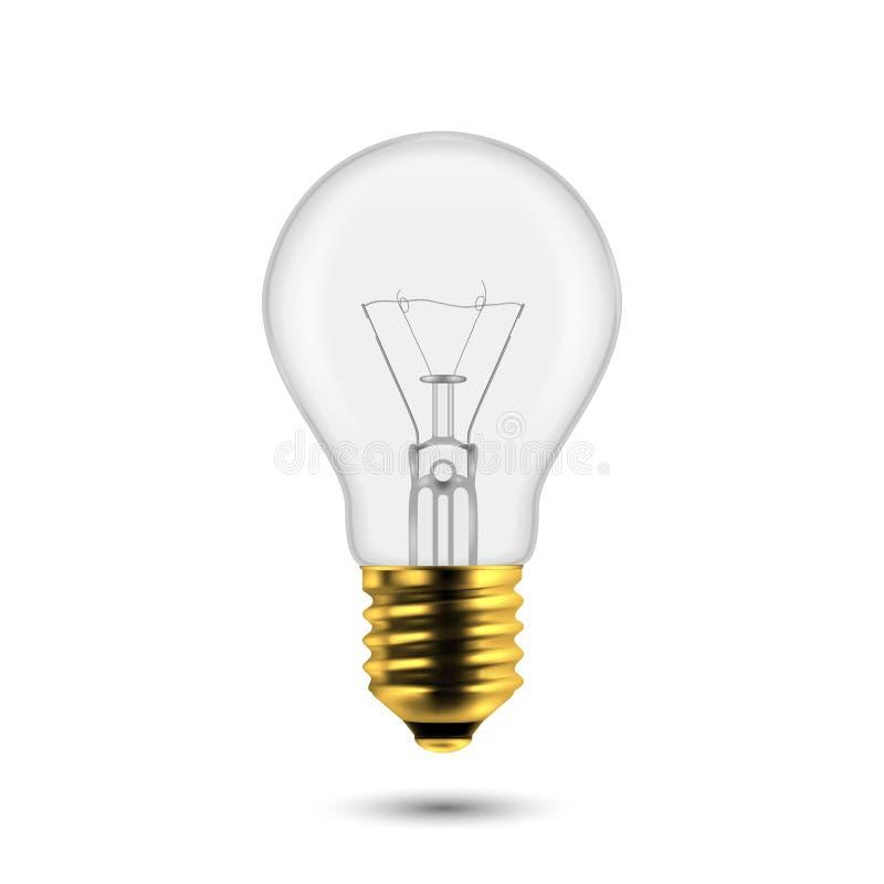 Vector 3d Realistic Golden Off Light Bulb Icon Closeup su sfondo bianco Modello struttura, Clipart Schiacciatura illustrazione vettoriale