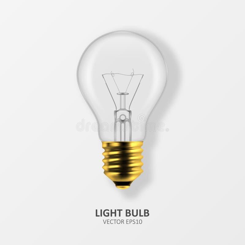 Vector 3d Realistic Golden Off Light Bulb Icon Closeup su sfondo bianco Modello struttura, Clipart Schiacciatura royalty illustrazione gratis