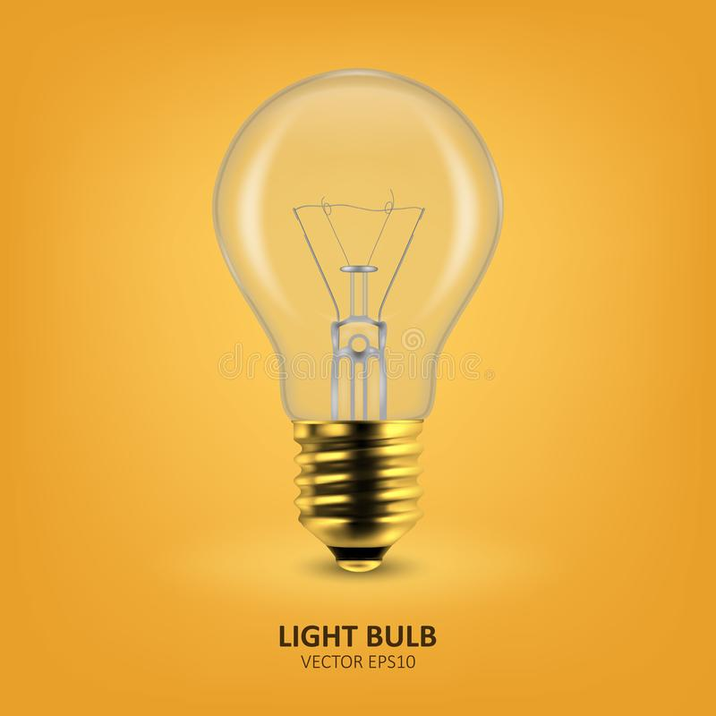 Vector 3d Realistic Golden Off Light Bulb Icon Closeup on Yellow Background. Design Template, Clipart. Glowing stock image