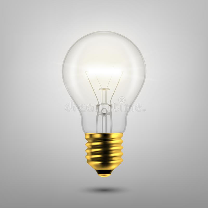 Vector 3d Realistic Golden Turning On Light Bulb Icon Closeup Isolated on Gray Background. Design Template, Clipart stock image