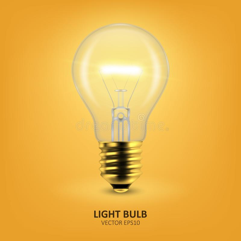 Vector 3d Realistic Golden Turning On Light Bulb Icon Closeup on Yellow Background. Design Template, Clipart. Glowing royalty free stock images