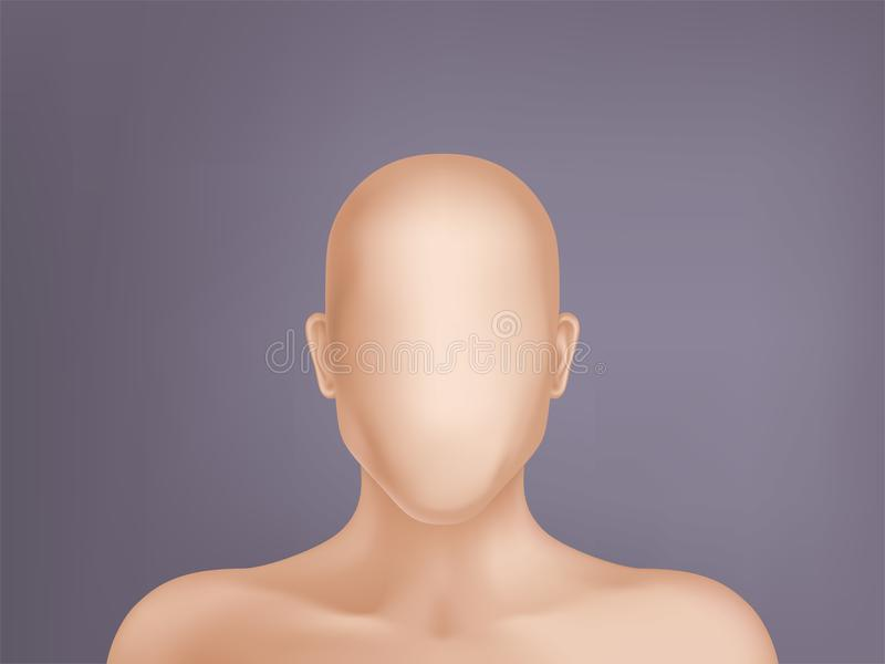 Vector 3d realistic human model, head without face. Vector faceless human model, blank dummy, part of male or female body on background. Mockup with man or woman stock illustration