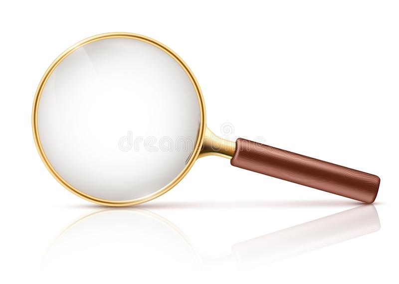 Vector 3d realistic magnifying glass, optical loupe vector illustration