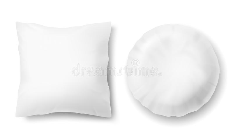 vector 3d realistic pillows square round template mockup stock