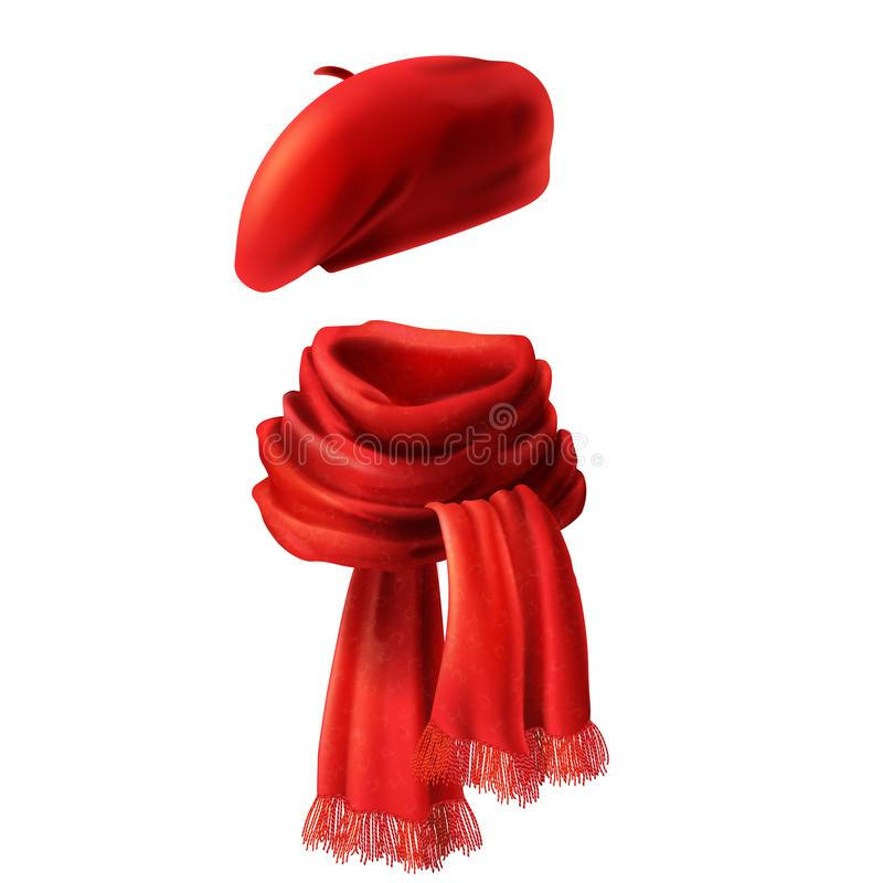 Vector 3d realistic red scarf and beret. Vector 3d realistic silk red scarf and headwear - french hat, beret. Knitted fabric cloth, alpaca wool for winter stock illustration
