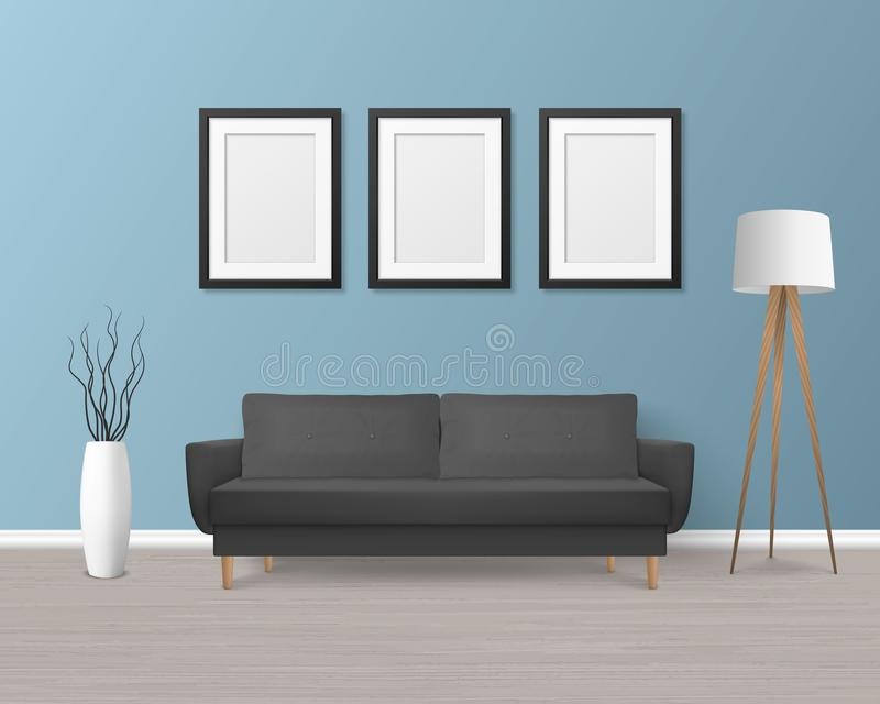 Vector 3d Realistic Render Black Sofa, Couch with Pillows in Simple Style in Modern Room - Apartment, Salon, Art Gallery stock illustration
