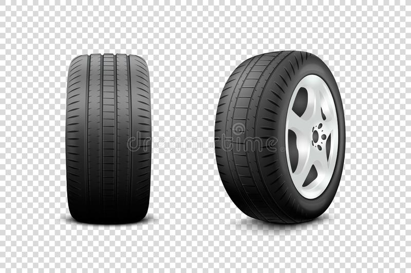 Vector 3d Realistic Render Car Wheel Icon Closeup Isolated on Transparent Background. Design Template of New Tires with stock illustration