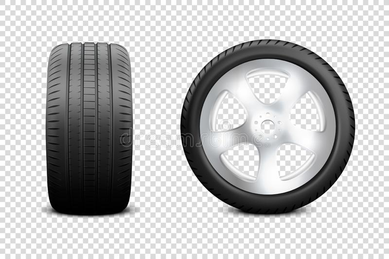 Vector 3d Realistic Render Car Wheel Icon Closeup Isolated on Transparent Background. Design Template of New Tires with vector illustration